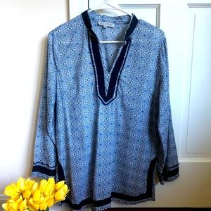Rose & Thyme Blue Teal Embroidered Tunic Blouse L